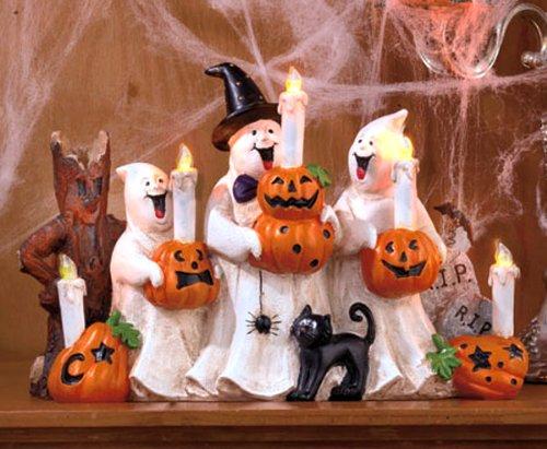 Halloween Ghost & Pumpkin Center Piece With Lighted Candles