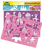 Lena 65766 - 2 Zeichenschablonen Prinzessinnen und Elfen