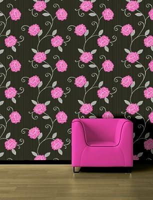 Picasso Black Silver Magenta Pink Floral Wallpaper by Debona
