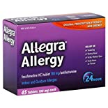Allegra Allergy, 24 Hour, Indoor and Outdoor, Original Prescription Strength, 180 mg, Tablets, 45 ct.