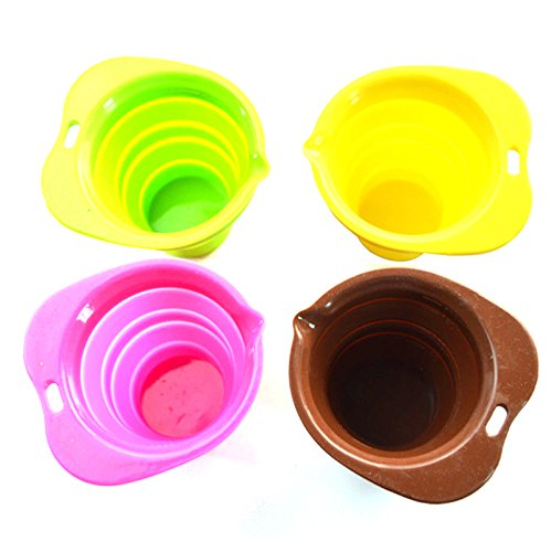 Generic Set Of 4 Silicone Folding Cup Telescopic Collapsible With Lid Outdoor Travel Camping