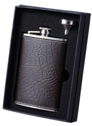 Visol VSET34-5058 Russell Leather Flask and Funnel Gift Set, 8-Ounce, Rustic Brown