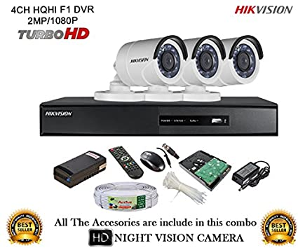 Hikvision-DS-7204HQHI-E1-4CH-Dvr,-3(DS-2CE16DOT-IR)-Bullet-Camera-(With-Mouse,-Remote,-1TB-HDD,Cable-,-Bnc&Dc-Connectors,Power-Supply)