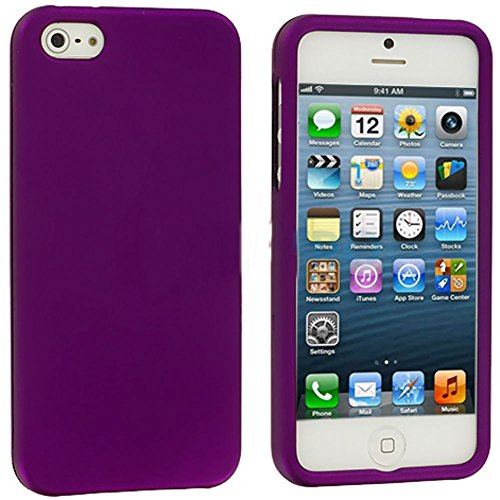 Mylife Purple Flat Series (2 Piece Snap On) Hardshell Plates Case For The Iphone 5/5S (5G) 5Th Generation Touch Phone (Clip Fitted Front And Back Solid Cover Case + Rubberized Tough Armor Skin)