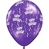 11 Inch Purple Birthday All-Around Printed Balloons - 100 - Count