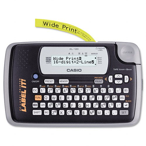 Casio Products - Casio - KL-120 Label Maker, 3 Lines, 7-1/2w x 4-1/2d x 2-1/5h - Sold As 1 Each - Organize your life with easy-to-make identifying labels. - Approximately 1/2