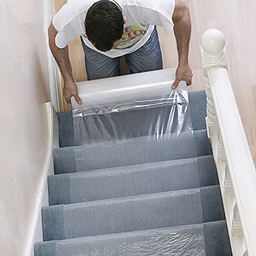 Cusfull Carpet Protector Self Adhesive Plastic Protection Film for Carpet, Rug, Floor and Stairs Waterproof PE Film (24″ x 200′)