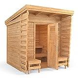 ISIDOR Outdoorsauna Saunakabine Sauna 2x2m Massivholz Pultdach