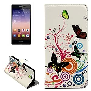 Crazy4Gadget Color Butterfly Pattern Horizontal Flip Leather Case with Holder & Card Slots for Huawei Ascend G7