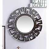 Fashion Decorative Wall MDF Round Shape Mirror Brown By Artesia