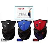 Winter Face Mask Warmer Material For Protection Face & Ears & Neck Against Extreme Cold and Wind for Cycling, Snowboardord, Sking, Walk outside, Men & Women, Colour: Red/Blue/Black + Free Gift RFID Block Sleeve- Fast Ship By Amazon Ca (Blue)