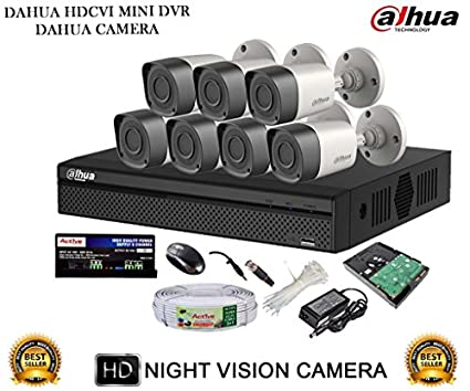 Dahua DH-HCVR4108HS-S2 8CH Dvr, 7(DH-HAC-HFW1000RP-0360B) Bullet Cameras (with Mouse, 2TB HDD,Cable, Bnc&Dc Connectors,Power Supply)