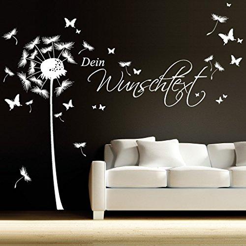 wandtattoo loft wandaufkleber pusteblume schmetterling mit ihrem wunschtext bis zu 15 w rter. Black Bedroom Furniture Sets. Home Design Ideas