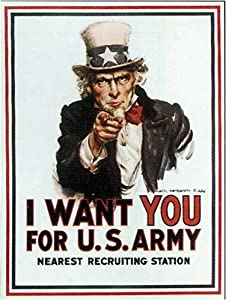 Vintage USA Patriotic MILLITARY Poster Reproduction UNCLE SAM - I want you by James Montgomery
