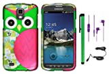 Samsung Galaxy S4 ACTIVE i537 i9295 (AT&T) Premium Vivid Design Protector Hard Cover Case + Car Charger + 3.5MM Stereo Earphones + 1 of New Metal Stylus Touch Screen Pen (Purple Silver Black Vine Swirl)
