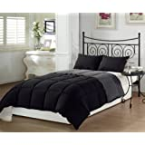 Chezmoi Collection 2-Piece Super Soft Goose Down Alternative Reversible Comforter Set Twin X-Large Black Grey