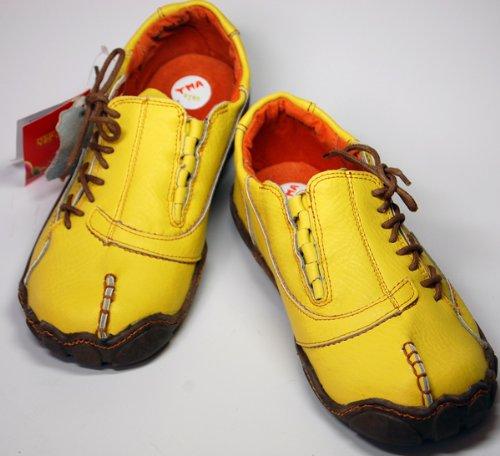 Damen Comfort Leder Schuh von TMA EYES in Gelb Sport Schuhe echt Leder Gr. 36