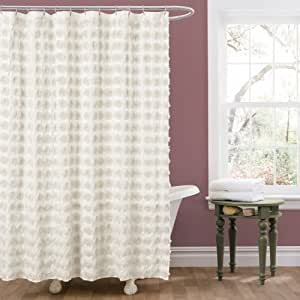Lush decor emma shower curtain 72 by 72 inch ivory for Home decor 72
