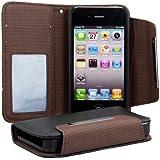 kwmobile® Kunstleder Wallet Case mit EC und Visitenkartenfach für Apple iPhone 4 / 4S in Schwarz Braun - elegant und praktisch