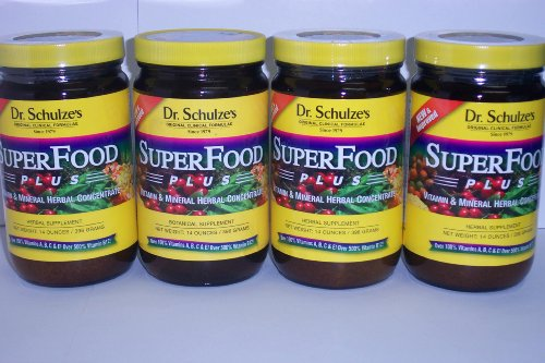 4 Bottles DR. SCHULZE'S ORGANIC SUPERFOOD PLUS GREEN Powder ENERGY VITAMIN DRINK SUPPLEMENT
