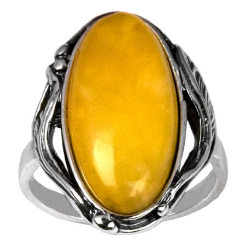 Baltic Butterscotch Amber Sterling Silver Oval Classic Ring Cabochon Size 10x20mm