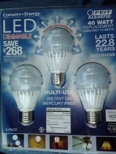 Feit Electric Led Light Bulb A19, 40W Replacement, Uses 7.5W 500 Lumens Dimmable, 6 Bulbs