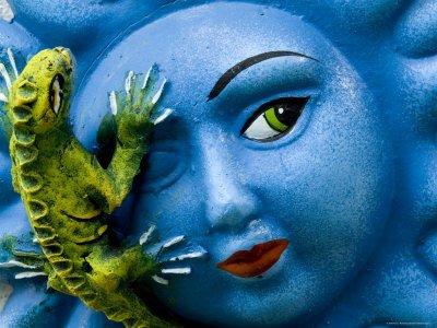 Ceramic Plaque Face and Lizard, San Miguel De Allende, Mexico