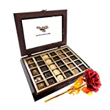 Valentine Chocholik's Belgium Chocolates - Brightness Of Love Chocolates With 24k Red Gold Rose