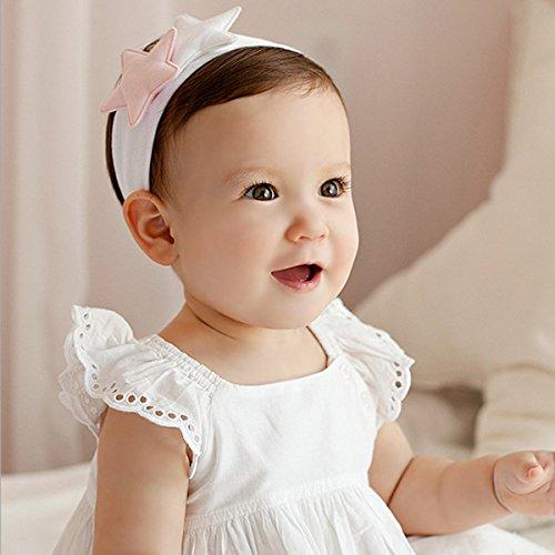 「二つセット」 2015年新品♪赤ちゃんもオシャレに♪ ベビー キッズ ヘアバンド子供用髪飾りバンド伸縮性がある  可愛い星星デザイン (ホワイト+ピンク)
