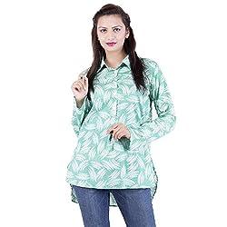 Jaipur Kala Kendra Women's Casual Wear Green Cotton Top