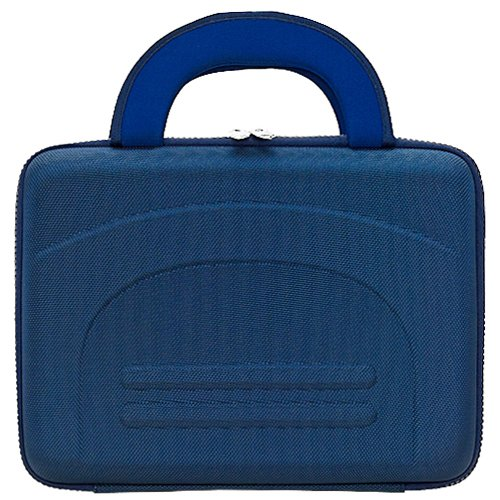 Blue Protective Hard Shell Nylon Cube Carrying Case For The Coby Electronics Tf-Dvd1021 10-Inch Slim Portable Dvd Player With Swivel Screen