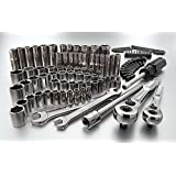 """Craftsman 108 Pc Mechanics Tools Set with Quality 6-point Socket Wrenches and Accessories One 1/4"""" Drive Quick Release Ratchet"""