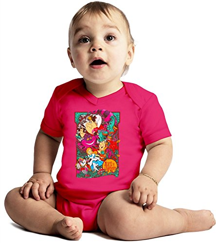 Alice in wonderland Amazing Quality Baby Bodysuit by True Fans Apparel - Made From 100% Organic Cotton- Super Soft V-Neck Style - Unisex Design- Perfect As A Present 6-12 months
