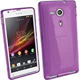 iGadgitz Purple Tinted Glossy Durable Crystal Gel Skin (TPU) Case Cover for Sony Xperia SP Android Smartphone Cell Phone + Screen Protector