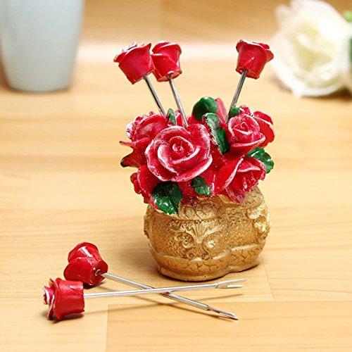 Rose Flower Basket Fruit Forks Set Snack Fork Kitchen Utensils