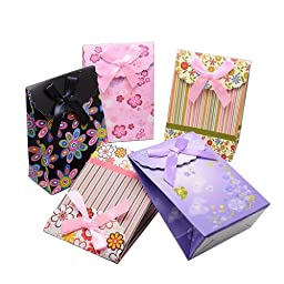 Pandahall 6pcs Assorted Colours Reusable Kraft Paper Carrier Party Bags Gift Bags with Ribbon Bowknot, about 12.5cm wide, 16.5cm long