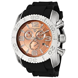 Mens 20067-09 Commander Collection Chronograph Rose Dial Black Rubber Watch