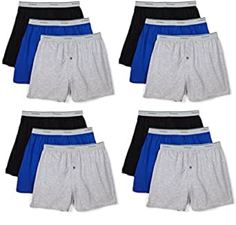 Fruit of the Loom Men's 12-Pack Knit Boxer Shorts Boxers Cotton Underwear S