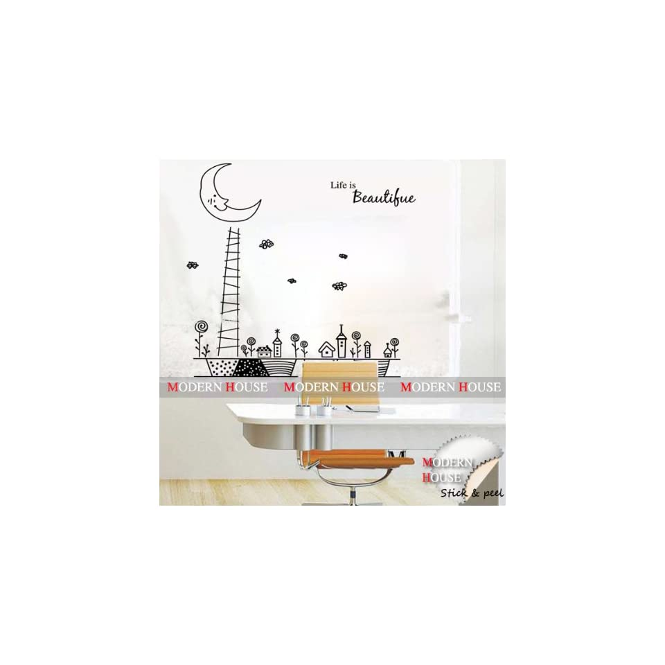 with Moon removable Vinyl Mural Art Wall Sticker Decal