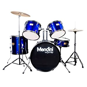Mendini by Cecilio 5-Piece Full Size 22-inch Drum Set + Cymbals, Drumsticks & Throne from Cecilio Musical Instruments
