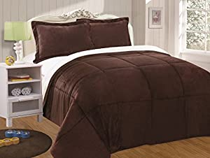 Chezmoi Collection 3-piece Micromink Sherpa Reversible Down Alternative Comforter Set (Queen, Chocolate)