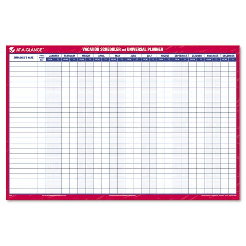 AT-A-GLANCE Recycled Universal/Vacation Scheduler, 36 x 24 Inches, Red & Blue, Undated (PM250-28)