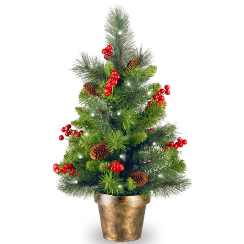 National Tree Cw7-334-20 Crestwood Spruce Small Tree With 35 Battery Operated Clear Led Lights-Ul, 2-Feet