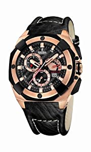 Festina Men's Sahara Sport Chronograph Watch With Three Sub-Dials And Black Leather Strap (F16357/3)