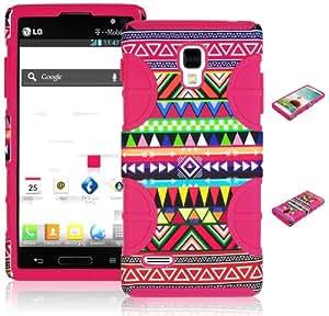 BasTexWireless Bastex Hybrid Case for LG Optimus L9 / Optimus 4G (P769) - Hot Pink Silicone with Aztec Tribal Hard Shell