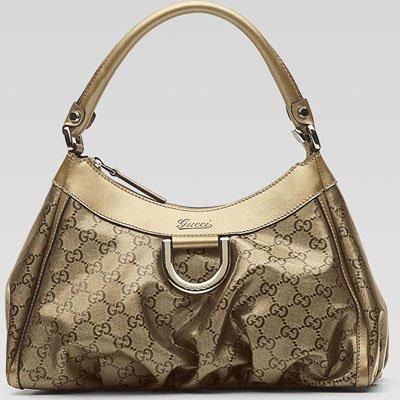 Gucci Medium Crystal GG D Gold Hobo - 265692