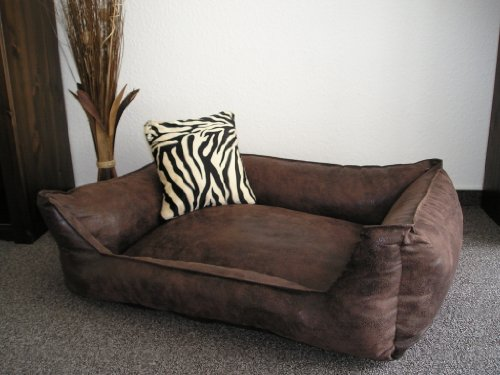 Hundebett-Hundesofa-Schlafplatz-Velluto-90-cm-X-70-cm-Farbe-braun