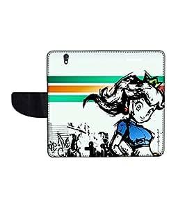 KolorEdge Printed Flip Cover For Sony Xperia Z Multicolor - (50KeMLogo11557XperiaZ)
