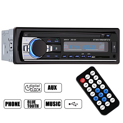 GHB Bluetooth Car Audio Stereo In Dash FM Receiver Mp3 Radio Player 1 DIN 12V With USB Port SD Input AUX Remote Control (Car Radio Usb compare prices)