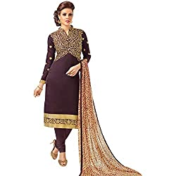 pakiza design new brown chanderi cotton party wear salwar suit dress material for women